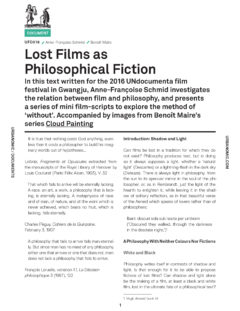 Lost Films as Philosophical Fiction